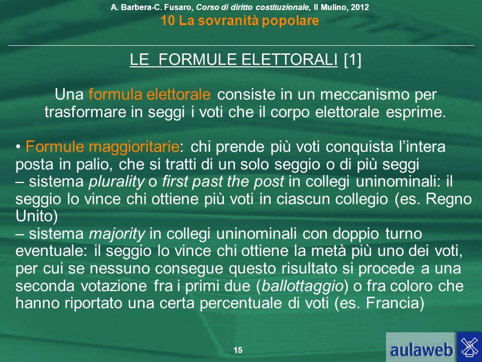 LE FORMULE ELETTORALI [1]